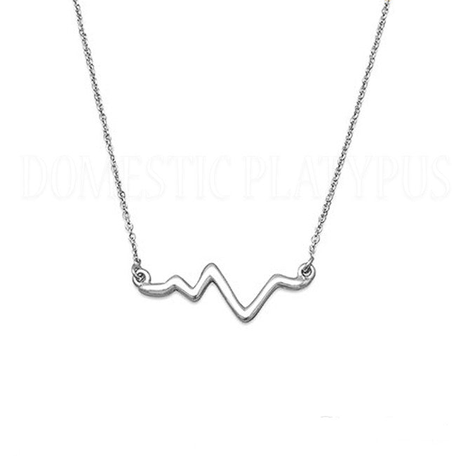 Heartbeat EKG Wave Necklace Sterling Silver or 14k Gold Plated
