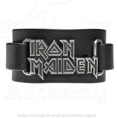 Iron Maiden Leather Logo Wrist Strap Bracelet, Alchemy Gothic