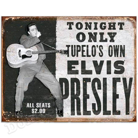 Elvis Presley Tupelo's Own 1950s Concert Poster Tin Sign