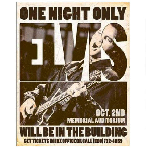 Elvis Presley One Night Only Concert Poster Tin Sign
