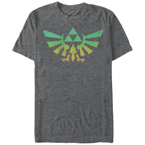 Legend of Zelda Green and Gold Fade Hyrule Crest Tee