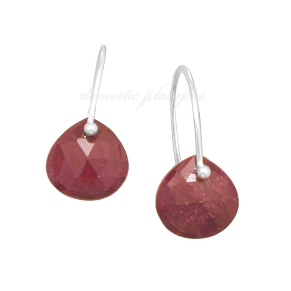 "Wildfire Sterling Silver ""Bare Gemstone"" Rough-Cut Ruby Earrings - Domestic Platypus"
