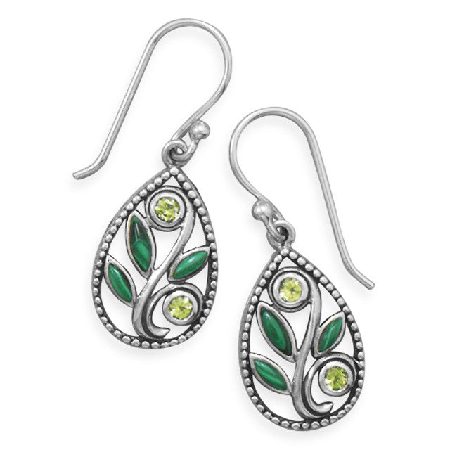 Wildfire Silver, Malachite & Peridot SPRING Earrings - Domestic Platypus