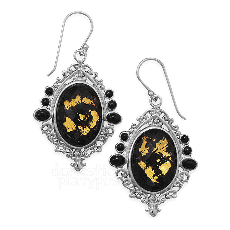"Wildfire Silver ""Black Gold"" Earrings"