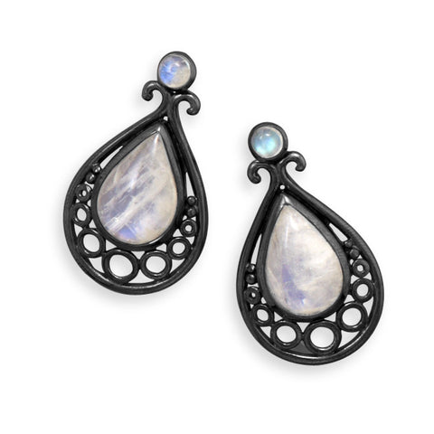 Wildfire Black Oxidized Sterling Silver RAINBOW MOONSTONE Earrings - Domestic Platypus
