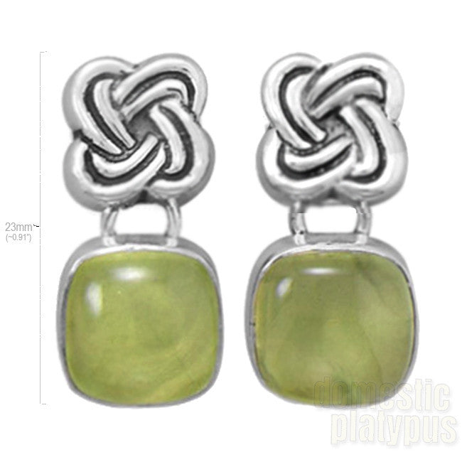 Wildfire Sterling Silver Celtic Knot & Prehnite Earrings - Domestic Platypus