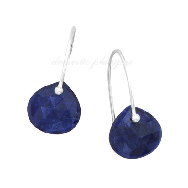 "Wildfire Sterling Silver ""Bare Gemstone"" Rough-Cut Sapphire Earrings - Domestic Platypus"