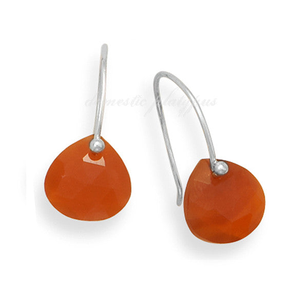 "Wildfire Sterling Silver ""Bare Gemstone"" Rough-Cut Carnelian Earrings"