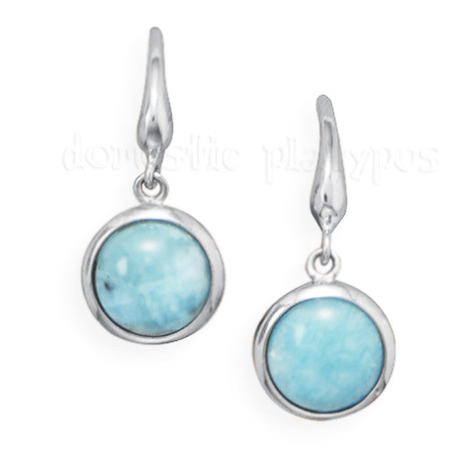 Wildfire Silver Larimar Round Drop  Earrings - Domestic Platypus