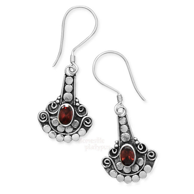Wildfire Silver Garnet Fan Drop Earrings - Domestic Platypus