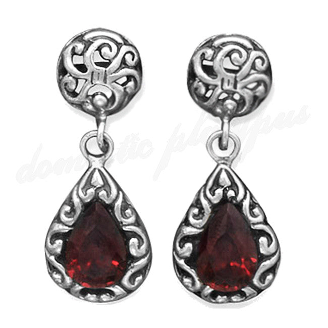 Handmade Vintage Style Silver & Garnet Drop Earrings - Domestic Platypus