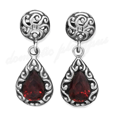 Handmade Vintage Style Silver & Garnet Drop Earrings