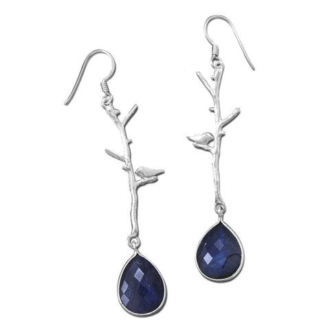 Bird and Branch Sterling Silver & Labradorite Earrings - Domestic Platypus