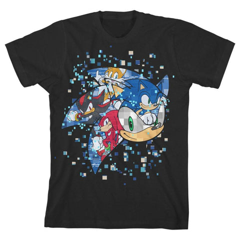 Domestic Platypus-SONIC THE YOUTH Team Sonic Pixel Burst Graphic Tee Officially Licensed-Youth Shirt-[meta description]