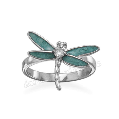 Wildfire Rhodium Plated Silver DRAGONFLY Ring - Domestic Platypus