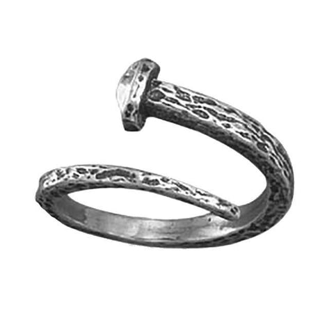 Adjustable Sterling Silver BENT NAIL Ring