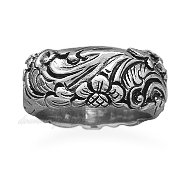 Wildfire Silver Floral Band Ring - Domestic Platypus