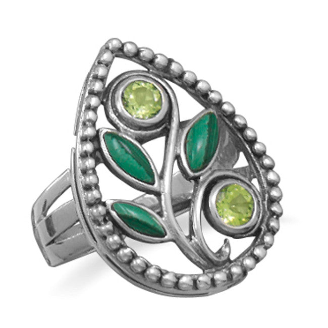 Wildfire Silver Malachite & Peridot SPRING Ring - Domestic Platypus