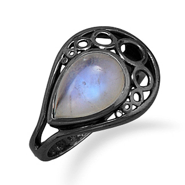 Wildfire Black Oxidized Sterling Silver RAINBOW MOONSTONE Ring - Domestic Platypus
