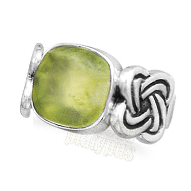 Wildfire Sterling Silver Celtic Knot & Square Phrenite Ring - Domestic Platypus