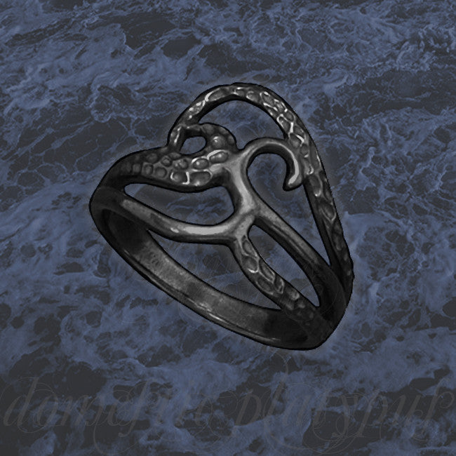 Black Rhodium Plated Silver DARK TIDES Ring - Domestic Platypus