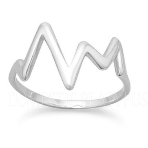 Heartbeat EKG Wave Ring Sterling Silver or 14k Gold