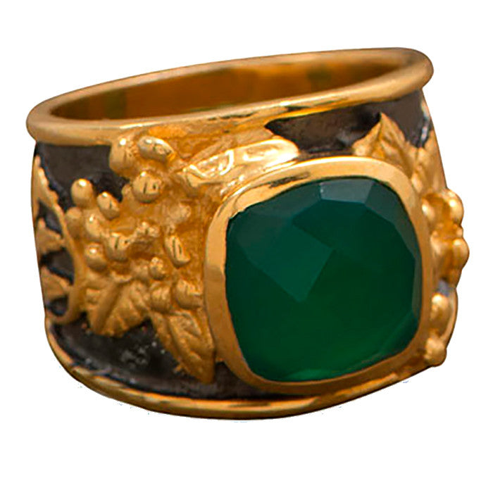 Gunmetal & 14k Plated Silver Green Onyx Ring