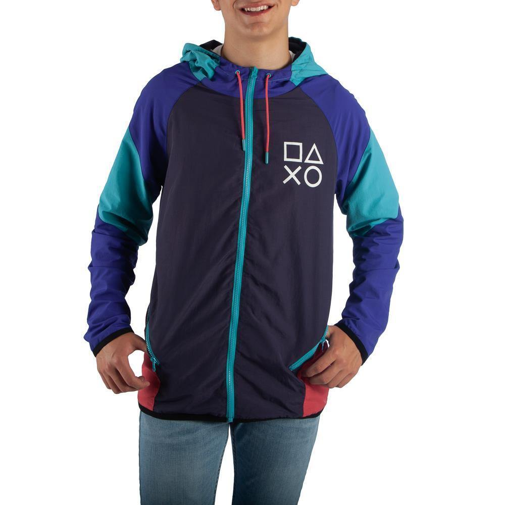 Domestic Platypus-Retro 1990s Sony Playstation Color Block Windbreaker Jacket, PS1 PS2-Jacket-[meta description]