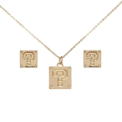 Super Mario Question Mark Necklace and Earrings Set