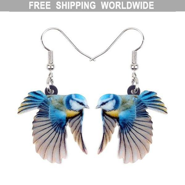 Blue Tit In Flight Acrylic Bird Earrings
