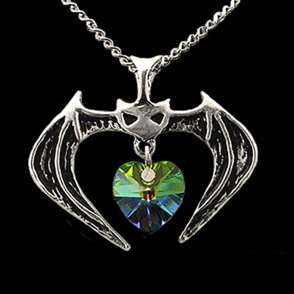 Vampire Bat with Crystal Heart Pendant Necklace - Domestic Platypus