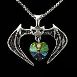 Vampire Bat with Crystal Heart Pendant Necklace