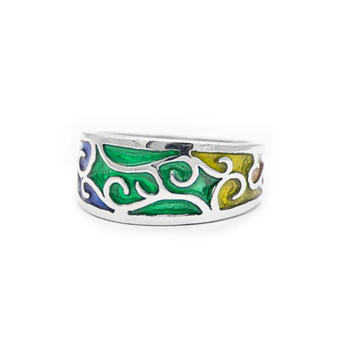 Rainbow PRIDE Scrollwork Ring - Small, Sterling Silver