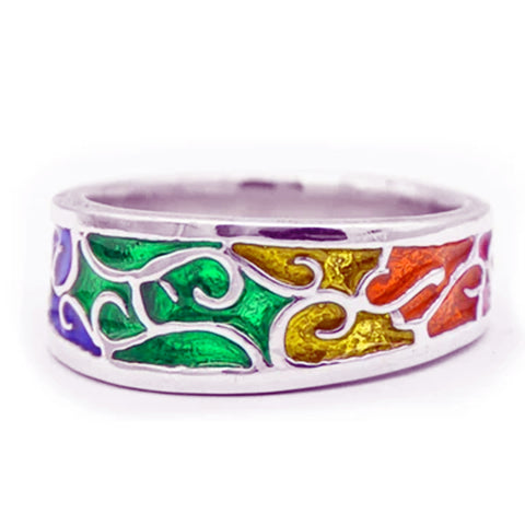 Rainbow PRIDE Scrollwork Ring - Large, Sterling Silver