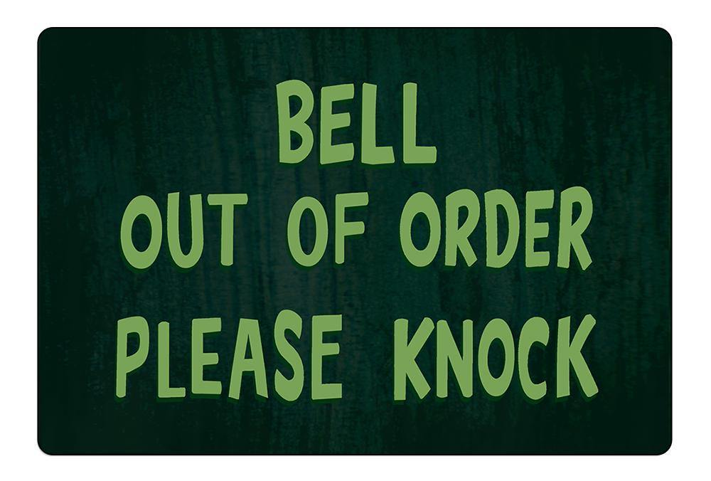 Bell Out of Order Please Knock Doormat