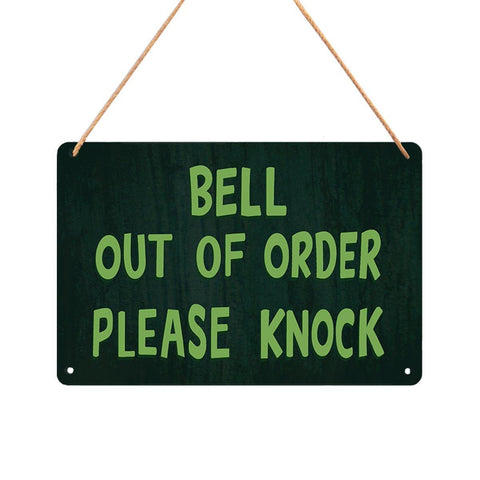 Bell Out of Order Please Knock Metal Sign - Domestic Platypus