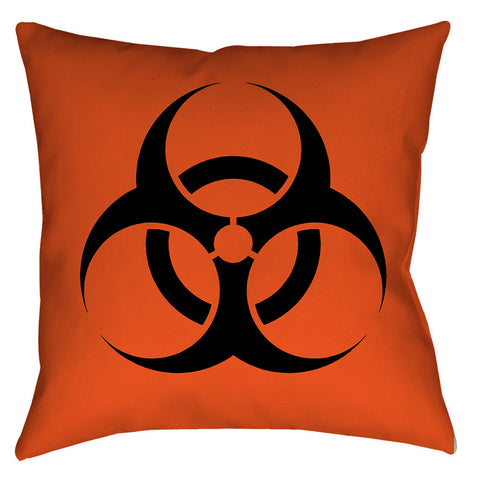 Biohazard Orange Throw Pillow - Domestic Platypus
