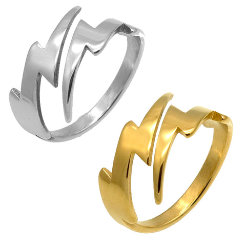 Lightning Bolt Ring, Stainless Steel