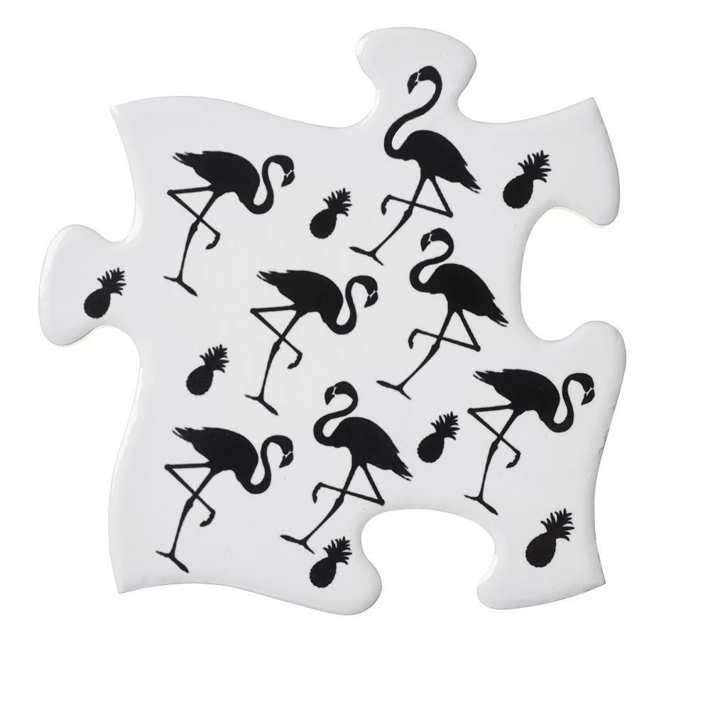 Black Flamingo and Pineapple Coaster Set