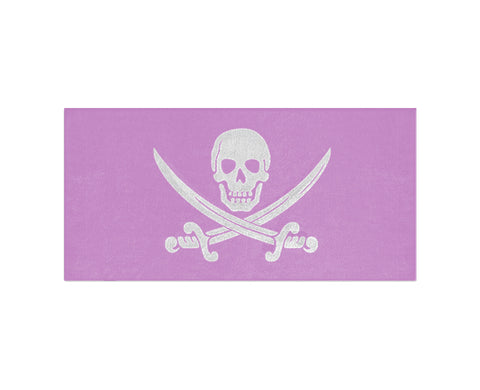 Calico Jack Pirate Jolly Roger Beach Towel - Pink