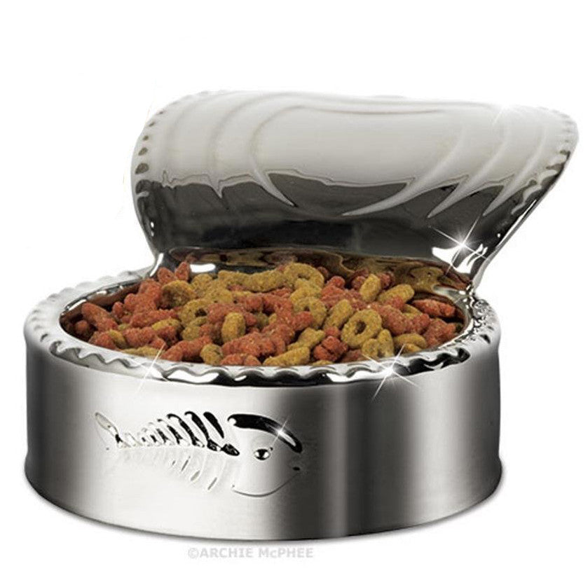 Mr. Fancy Pants SILVER PLATED Ceramic TUNA CAN Cat Dish - Domestic Platypus
