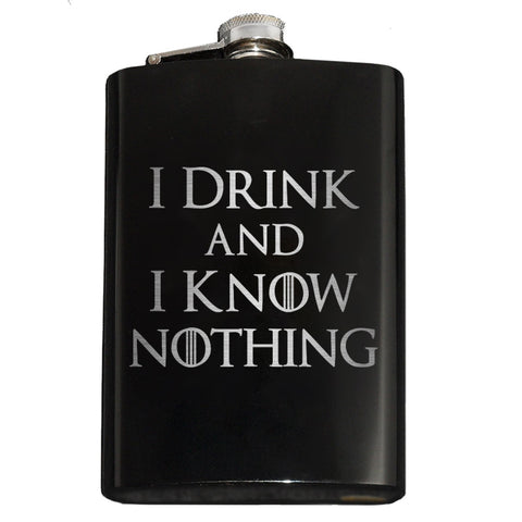 I Drink and I Know Nothing Flask - Domestic Platypus
