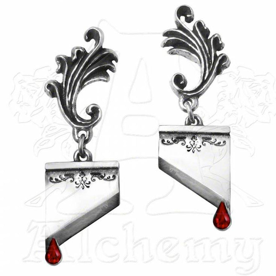 Alchemy Gothic MARIE ANTOINETTE Guillotine Blade Earrings