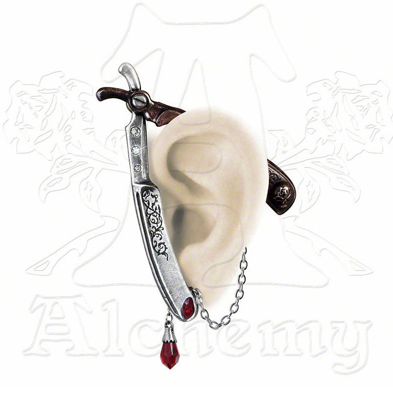 Alchemy Gothic CUT THROAT Straight Razor EAR WRAP - Domestic Platypus