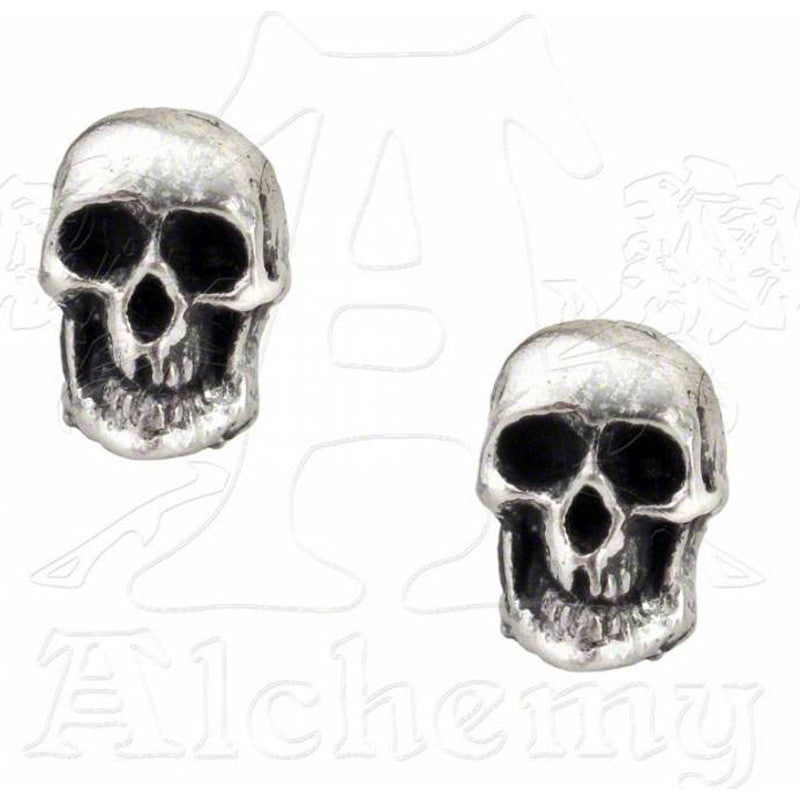 Alchemy Gothic Classic DEATH SKULL Stud Earrings - Domestic Platypus