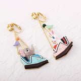 Elephant and Bunny Bumper Car Earrings