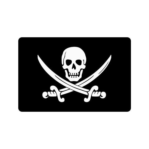 Domestic Platypus-Calico Jack Pirate Flag Doormat, Skull Swords Cutlasses Jolly Roger-Doormat-[meta description]
