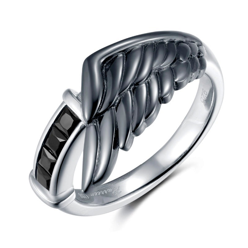 Sephiroth Dark Angel Wing Ring, Sterling Silver