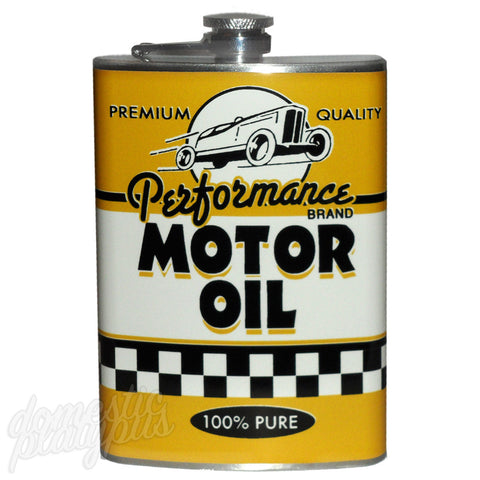 Retro Vintage MOTOR OIL CAN Flask - Domestic Platypus