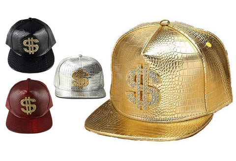 Faux Leather Hip Hop Dollar Sign Cap